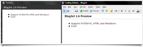 BlogJet screenshot — HTML preview